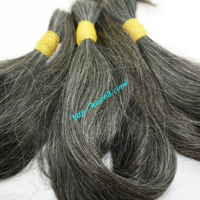 12 inch Natural Grey Human Hair - Straight Double