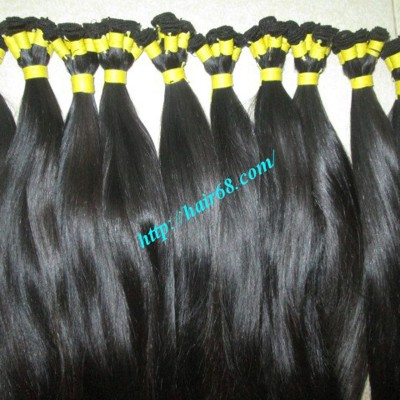 14 inch Hand Tied Remy Weft Hair Extensions Straight Single