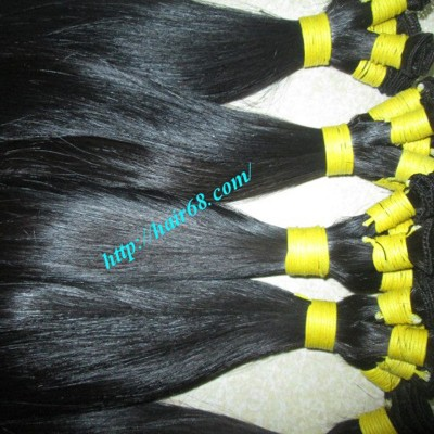 26 inch Hand Tied Remy Weft Hair Extensions Straight Single
