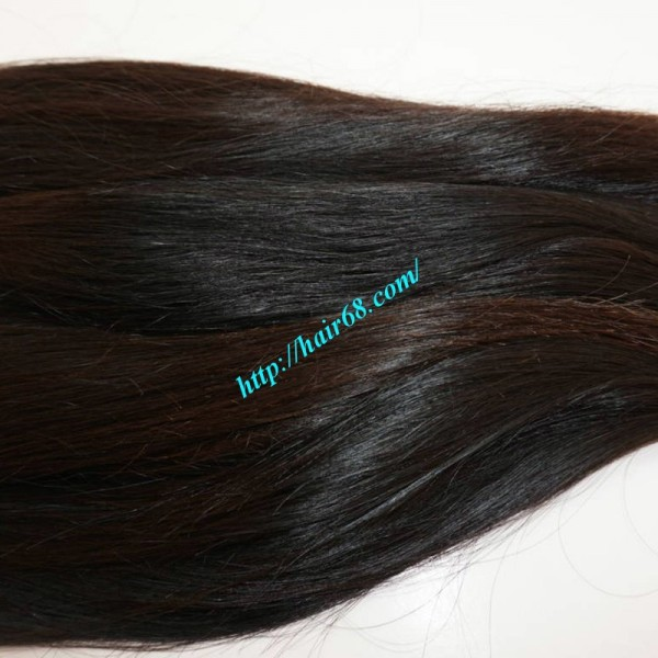 24 Inch Hand Tied Human Hair Extensions Weft Straight Single