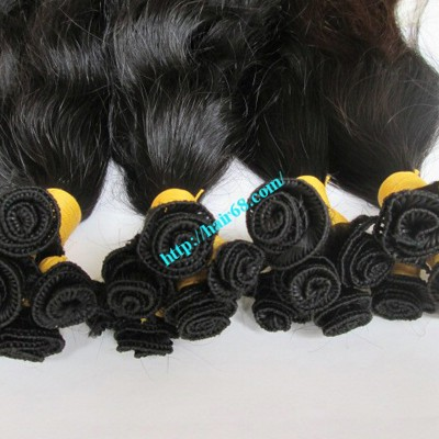 10 inch Hand Tied Human Hair Wefts – Wavy Double